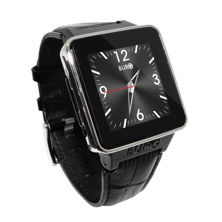 Black BURG 16A Smartwatch Phone with SIM Card Leather Straps Watch for iOS Android. Compatible with iPhone or Android phones. Bluetooth 3.0 two-way communication. Micro SD up to 16Gb.