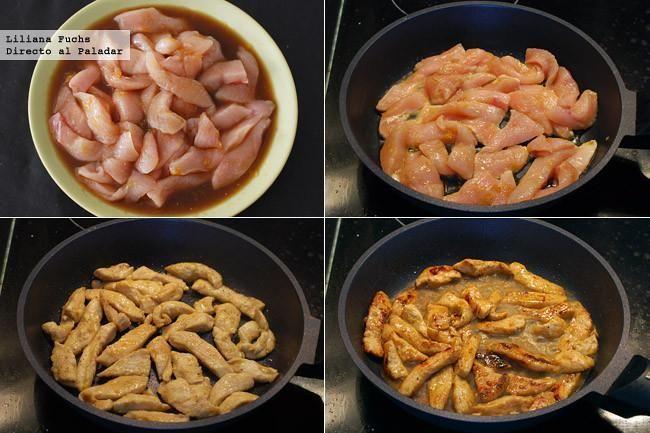 Ensalada de pollo a la naranja agridulce.  Ingredientes para 2 personas250 g de pechugas de pollo fileteadas, 2 cogollos de lechuga, 1 puñado de tomates tipo cherry, 1 naranja, 1 cucharada de salsa de soja, 1 cucharadita de salsa Worcestershire, 1 cucharadita de vinagre de Jerez, 1 cucharada de mermelada de naranja amarga, 1 cucharada de miel, pimienta negra, sal, sésamo negro, aceite de oliva virgen extra.