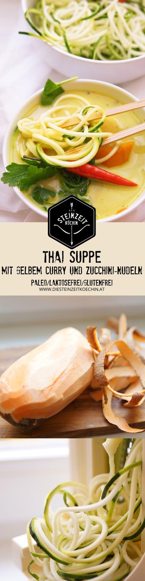 Thai Suppe, mit gelbem Curry und Zucchininudeln, zitronig frisch mit etwas Schärfe. Wenig kohlenhydrate, nur wenige Zutaten, ohne laktosefrei, Paleo, gesundes Rezept, schnell zubereitet, gesundes Mittagessen, Abendessen mit wenigen Kalorien