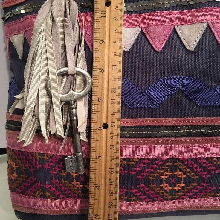 FOSSIL Jesse Canvas Leather Tote Shoulder Bag Embellished Tassel Key Fob    eBay