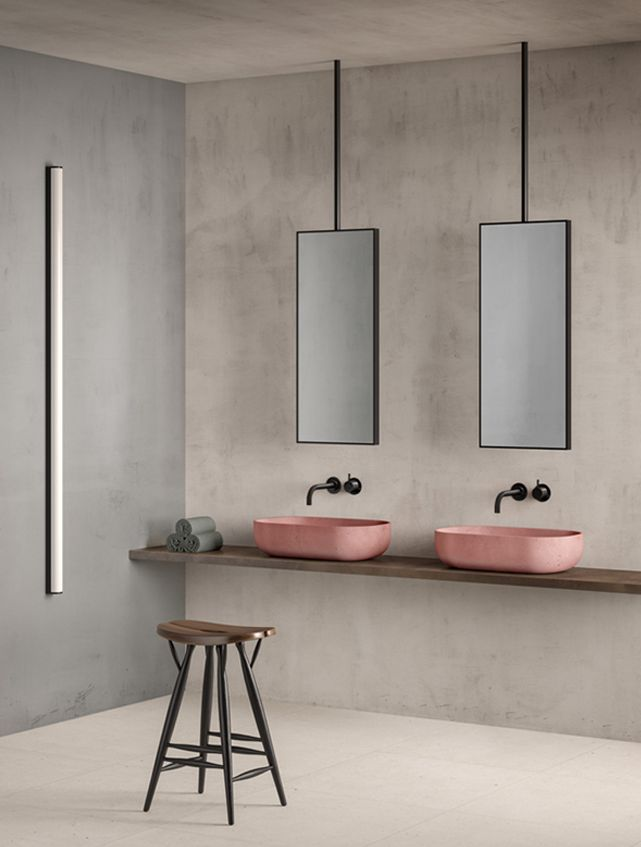 porcelain tile white fjord fjord bathroom smooth concrete wooden bench and pink sinks - Bathroom Designs And Colors
