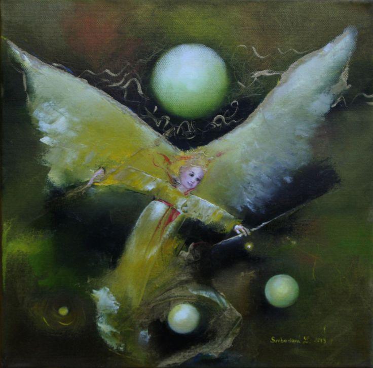 """Olejomalba """" Hrající si anděl"""" 40x40cm Olejomalba, datum tvorby 30.12.2013, inspirace: můj synek hrající si s vánočními dárky:-) hodinu před spaním:-)"""