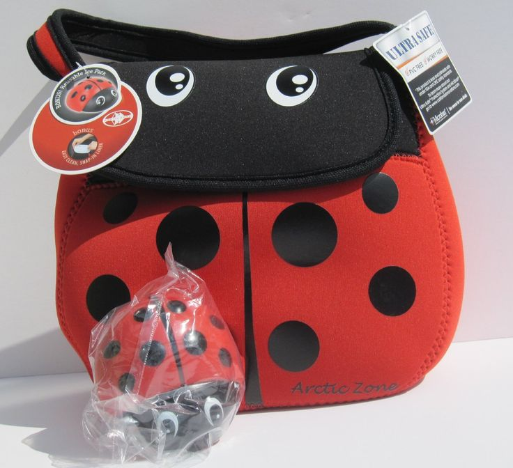Neo Creatures - Neoprene Insulated Lunch Pack- Red and Black Ladybug with Matching Ice Pack.  Adorable insulated lunch pack with a matching Ice pack, perfect for back to school