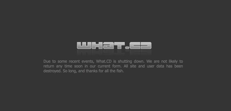 What.cd's homepage saying the site will be shutting down.