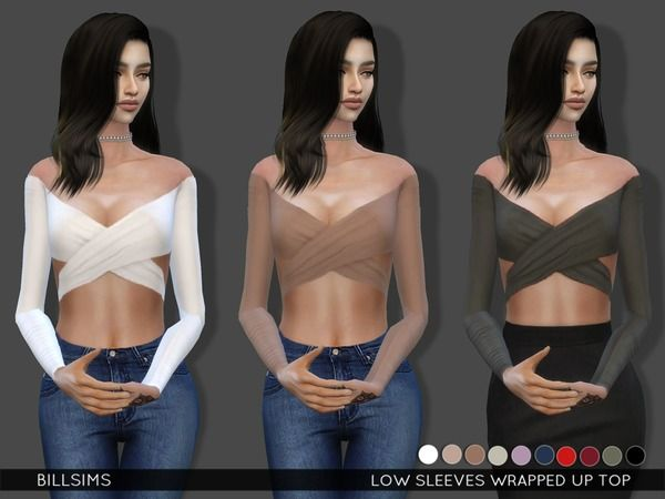 The Sims Resource: Low Sleeves Wrapped Up Top by BillSims • Sims 4 Downloads