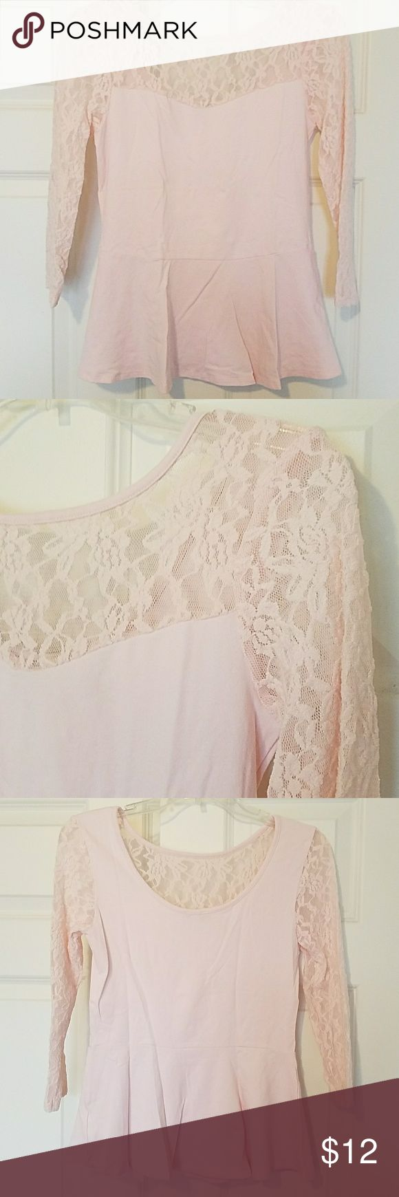 NWOT Pink lace peplum top Baby pink peplum top with lace and scoop back. 95% cotton, 5% spandex. Trim is 100% nylon. Never been worn! Express Tops
