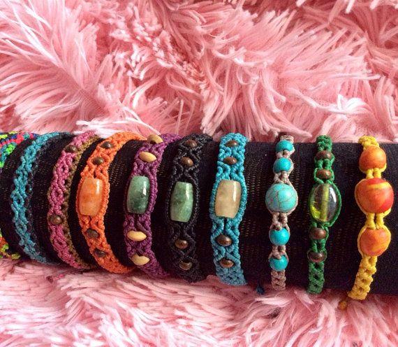 Brazalet macrame! Choose your favorite. We can do personalized model. Friendship bracelet natural stone. Elegant, boho