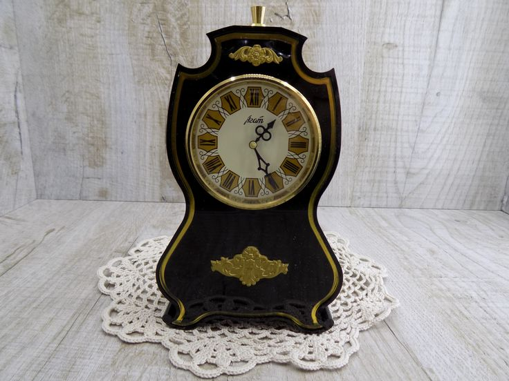 Vintage clock Agat <b>Working</b> old clock Rare table clock USSR Black ...