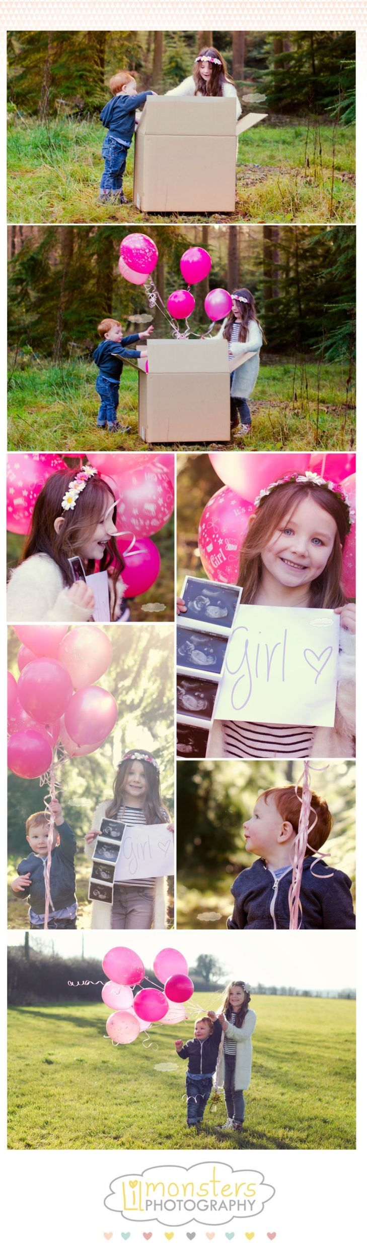 lilmonstersphotography » Photographers  Sibling gender reveal, it's a girl!  Copyright Lil Monsters Photography 2014