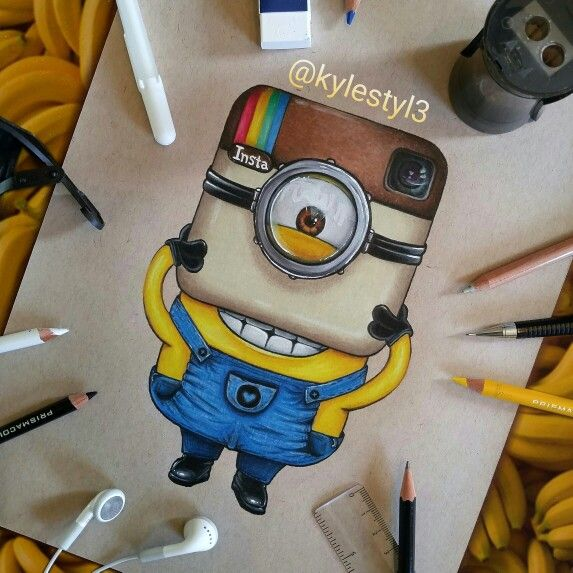 Instagram and Minion Social Media Mash Up Drawing