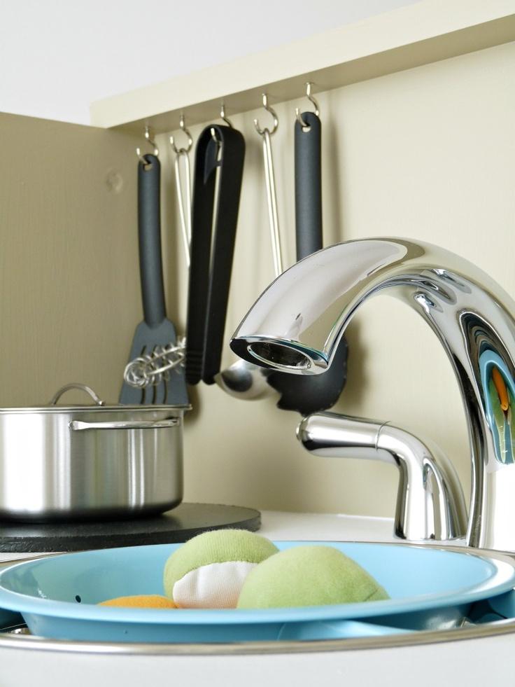 Dans le Townhouse: DIY Play Kitchen Reveal!  Hooks below shelf