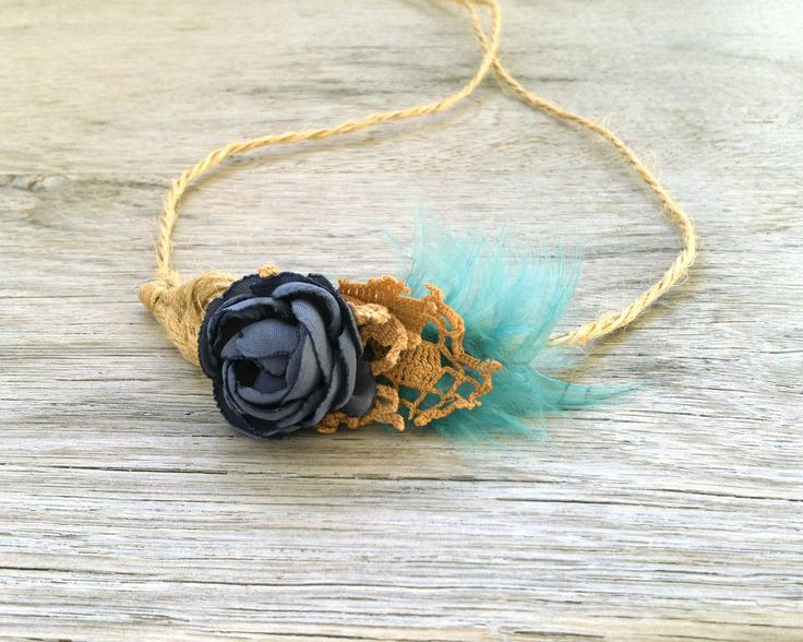 Feather Baby Tieback, Newborn Baby Girl Prop, Turquoise Gray-BlueTan Beige, Fall Photo Prop, Ready to Ship by atelierbagatela on Etsy