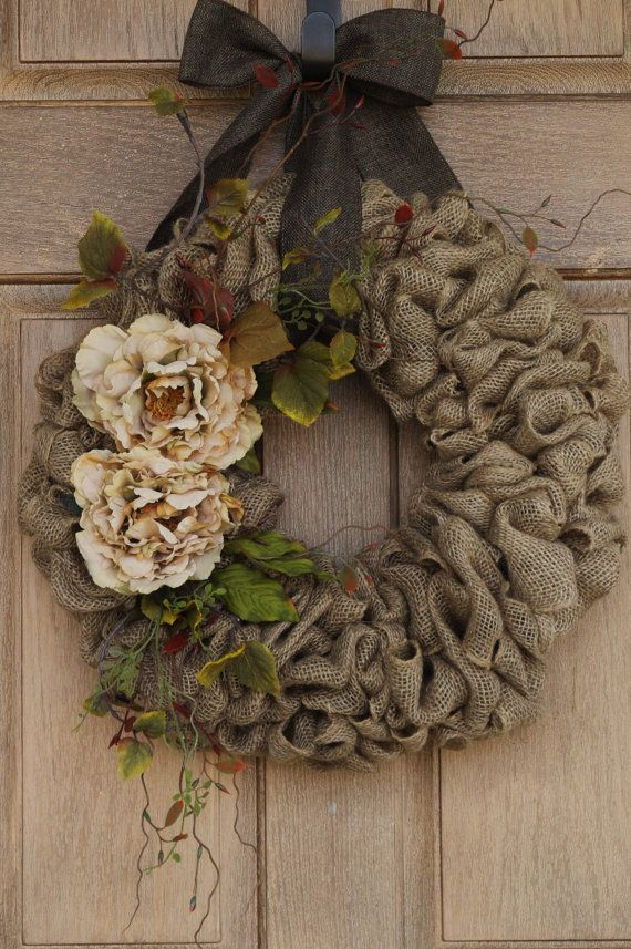 "22"" Beige Flower Burlap Wreath--Buralp Wreath--Earth Tone Burlap Wreath with Curly Twigs--Year Round Burlap Wreath"
