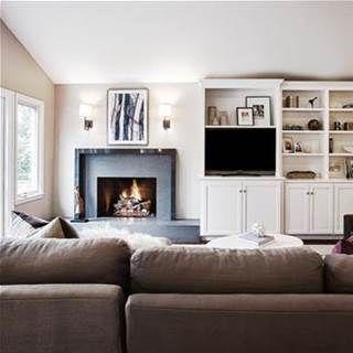Off center fireplace living room