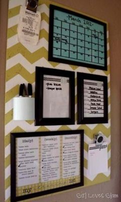 We can paint or put cloth over a board/piece of wood. Use picture frames with dry erase board to help organize!