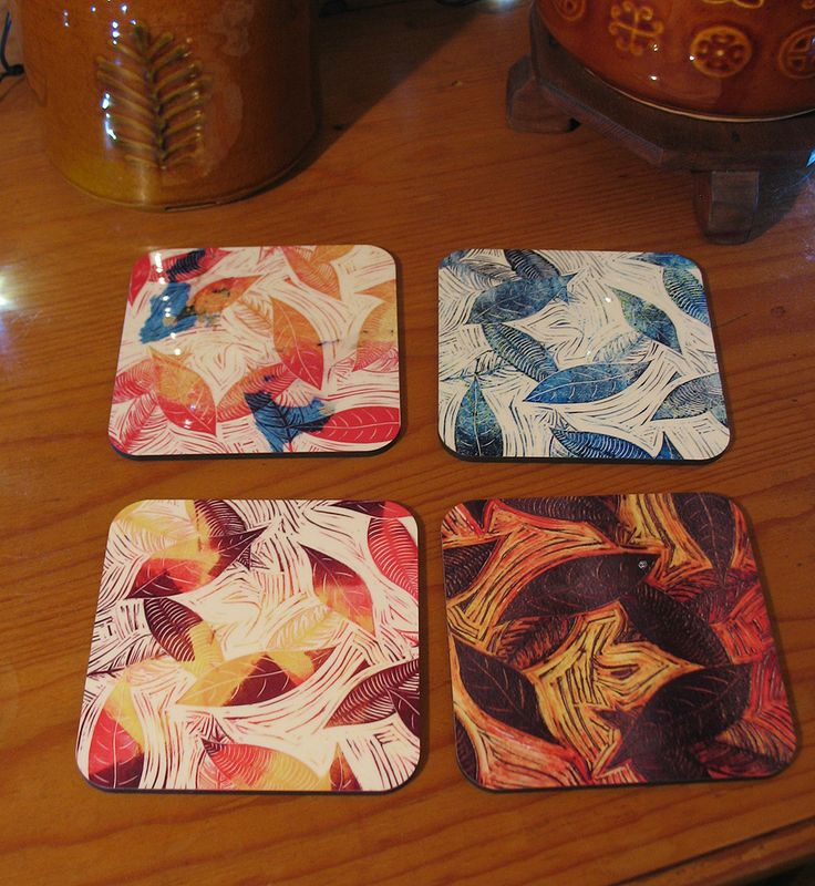 Blue Days of Winter Leaves coaster set