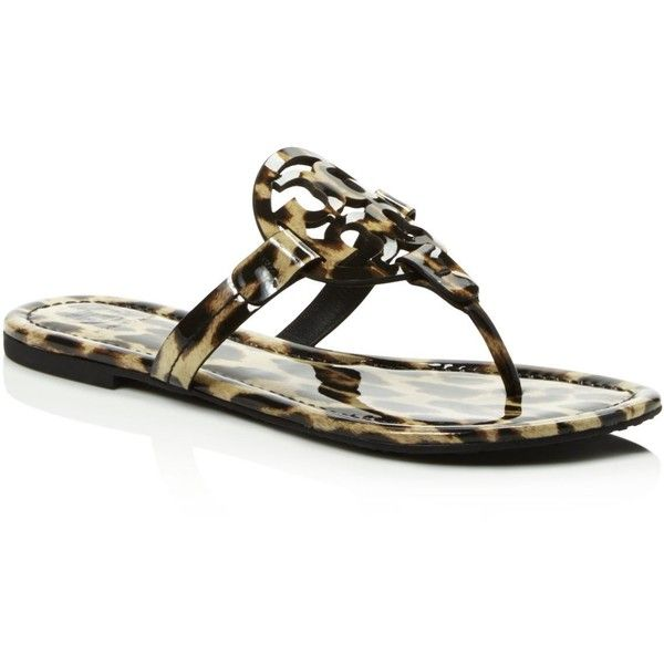 Tory Burch Miller Leopard Print Thong Sandals (5 460 UAH) ❤ liked on Polyvore featuring shoes, sandals, natural leopard, leopard sandals, toe thongs, flat thong sandals, toe thong sandals and tory burch footwear