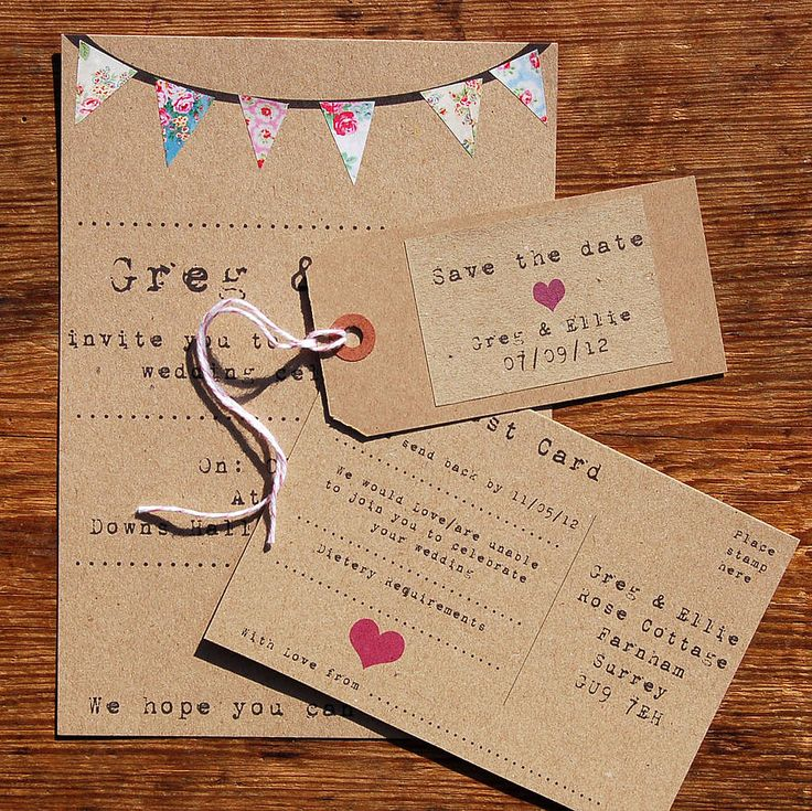 Bunting Wedding Stationery Range from notonthehighstreet.com
