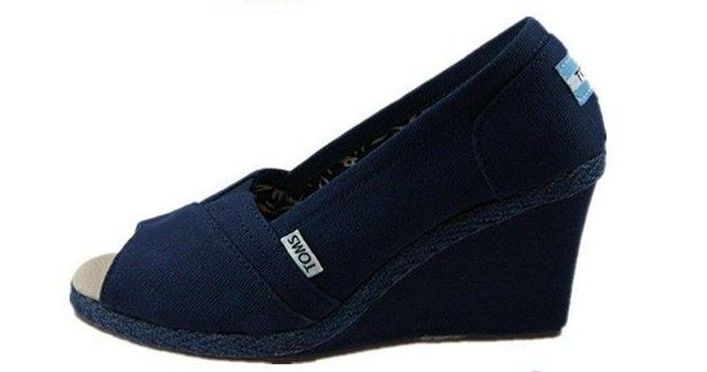 Toms Wedges Navy Canvas,Cheap Toms Wedges For Sale