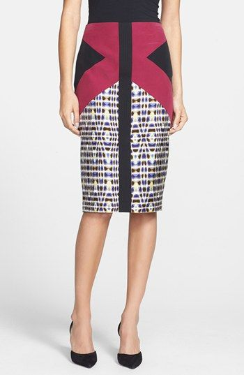 """A slim skirt boasts a striking mix of color and pattern.  22"""" length (size 8). Back zip closure. Lined. 100% silk. Dry clean. By Rachel Roy"""