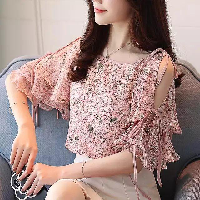 ee7245ca0b20 Primavera, verano, 2018 EW Corea moda collar redondo floral ...