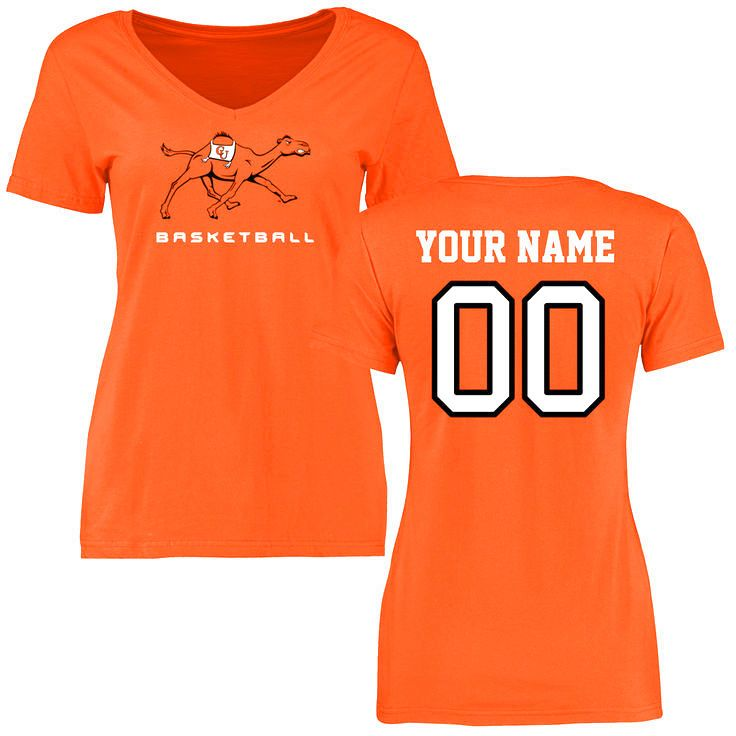 Campbell Fighting Camels Women's Personalized Basketball Slim Fit T-Shirt - Orange - $37.99