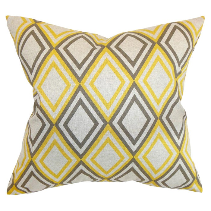 Annie Pillow. Yellow & grey graphic cushion