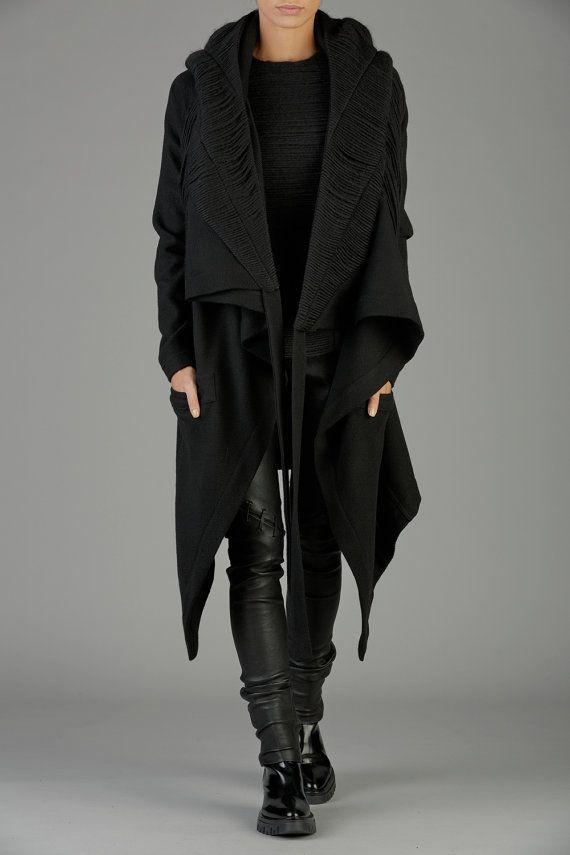 Black Hooded Coat, Winter Coat, Womens Coat, Hooded Cloak, Wool Coat, Waterfall Coat, Maxi Cardigan, Oversized Coat, Black Hoodie Black Coat