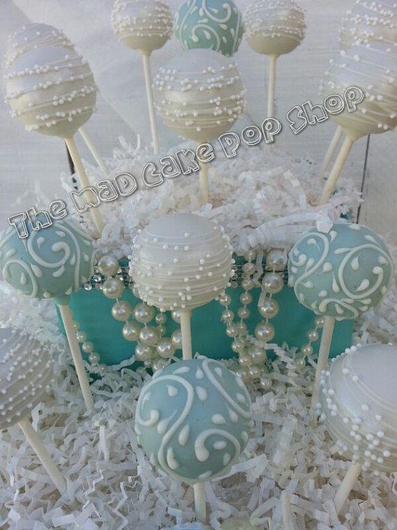 Tiffany Blue and White Swirl Cake Pops -1 dozen - Breakfast at Tiffany's - Bridal Shower - Wedding - Birthday- Edible Favor