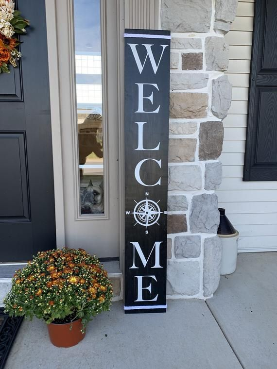 Welcome Sign With Compass O And Nautical Rope 9 X48 Wood Sign Coastal Nautical Farmhouse Home Decor Cottage Style Fixer Upper Style In 2020 Welcome Wood Sign Entryway Signs Welcome Signs Front