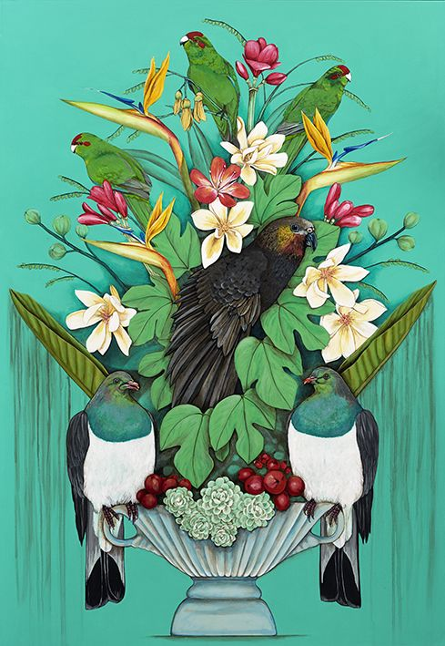 Kaka's Floral Kingdom - by Kathryn Furniss. Artprints available from www.imagevault.co.nz