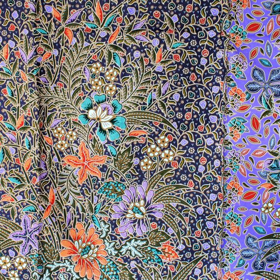 vintage purple flowers 2 tone cotton traditional by 18dec on Etsy, $20.00