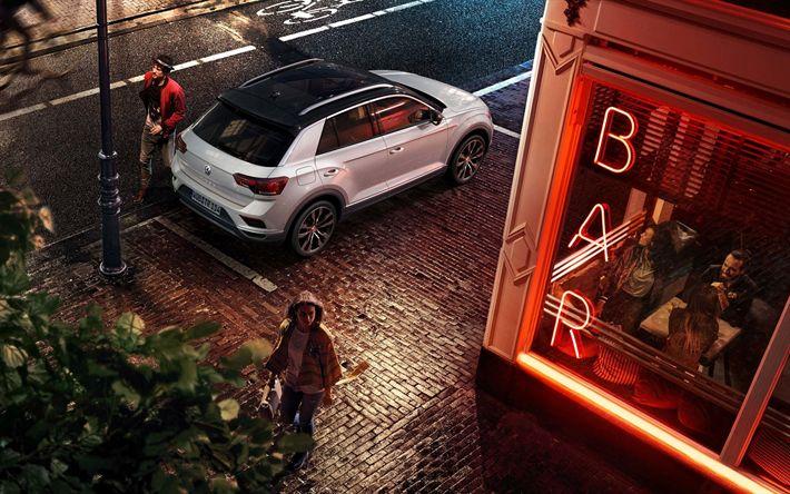 Download wallpapers Volkswagen T-Roc, 2018, parking, exterior, new white T-Roc, crossover, panoramic roof, top view, Volkswagen