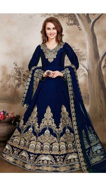 Blue Taffeta Silk Anarkali churidar Suit With Embroidered Dupatta - DMV14645