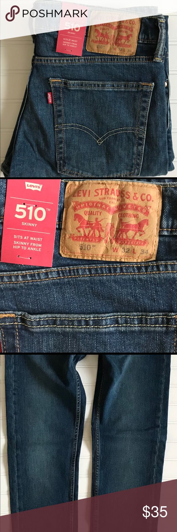 LEVI'S 510 Skinny Jeans! Med. Wash  NWTS! W32 L34 LEVI'S 510 Skinny Jeans!  Medium wash. Brand new with tags!  Slight factory fade on fronts of legs. Comfort stretch. NICE! Tag size W32 L34 Measures: W 32 L 33 Rise: 11 inches Leg opening: 6 inches Levi's Jeans Skinny