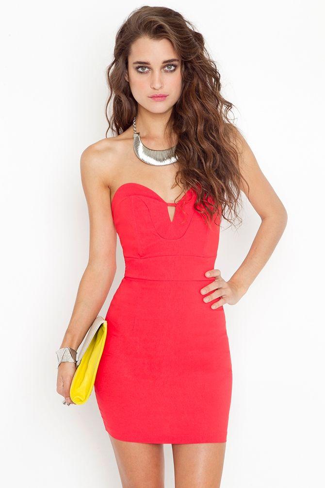 Serena Sweetheart Dress - Coral