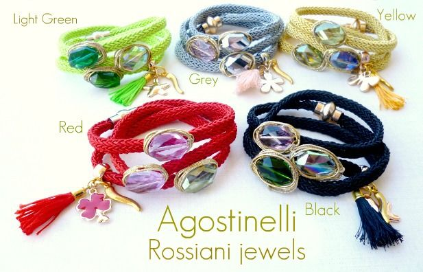 Agostinelli, bracelets - Crystals and fabric - Rossiani Jewels - Italian handmade jewels - Made in Italy