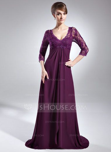Empire V-neck Sweep Train Chiffon Lace Mother of the Bride Dress With Beading Sequins Cascading Ruffles (008006147) - JJsHouse
