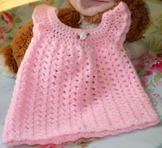 NEWBORN Crochet baby dress girl clothes by crochetyknitsnbits, £15.99