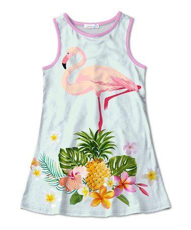 c8966f70b Sunshine Swing | Light Blue & Pink Flamingo Shift Dress - Toddler ...