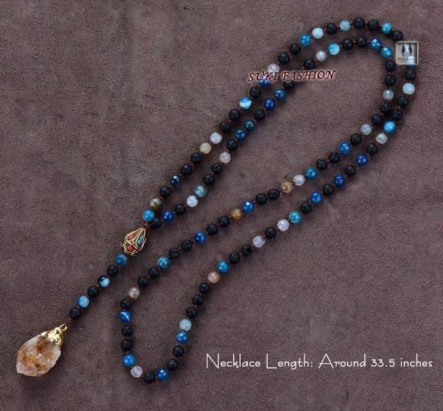 Exclusive mixte lave pierres bleu Agate avec népal et naturel Quartz pendentif Y collier main Volcano collier grossiste