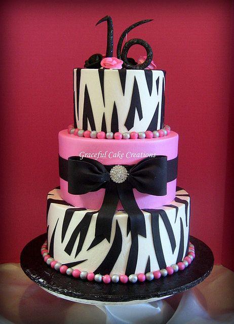 Hot Pink and Zebra Print Sweet Sixteen Birthday Cake