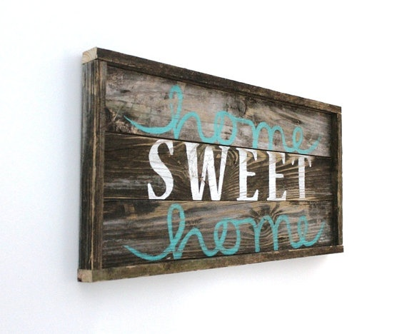 Home Sweet Home Distressed Wood Sign27 x 13 by thesummeryumbrella, $50.00