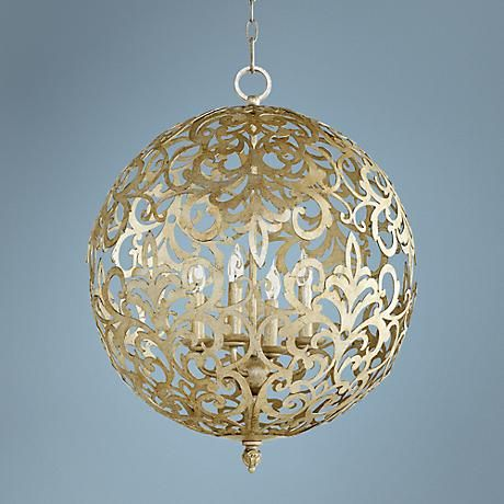 Add glamour to the living room, dining room or entryway, with this eye catching silver leaf finish pendant light.