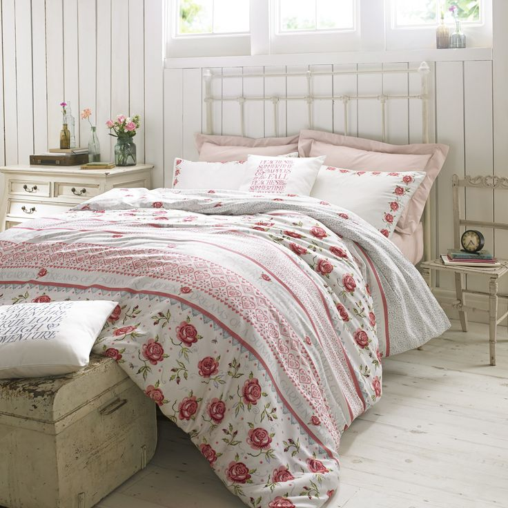 Rose & Bee Bedding - Rose & Bee uses the deliciously nostalgic Rose and Bee pattern, with its pretty pink roses and pale blue Persian border, made up in panels - just as Emma likes to do when making quilts for the beds at home. Printed on soft cotton sateen. #EmmaBridgewater #Bedding