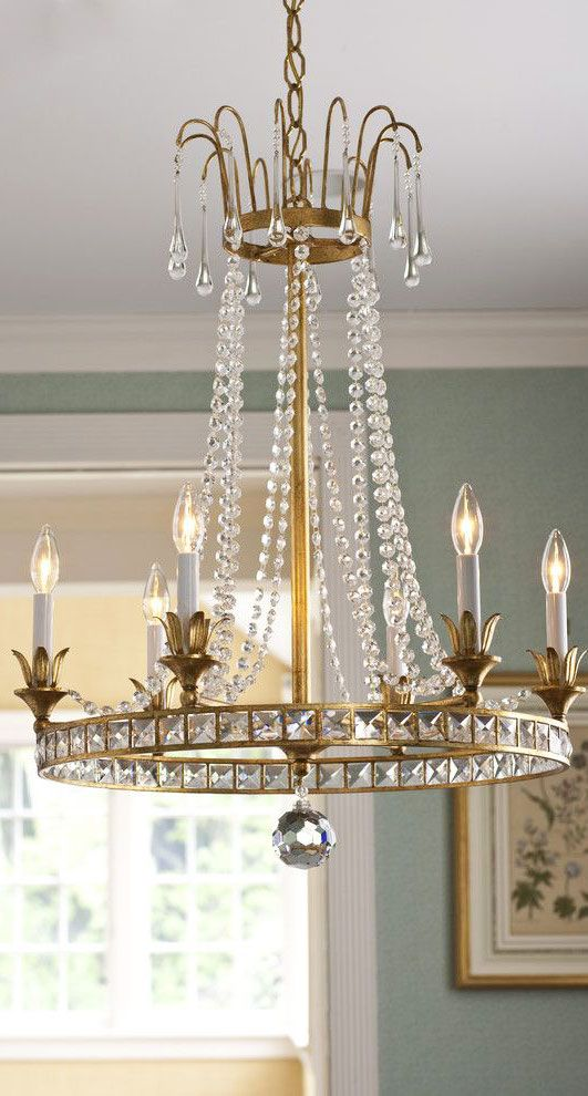 Louis Xiv Style Crystal Chandelier On An Antique Gilded