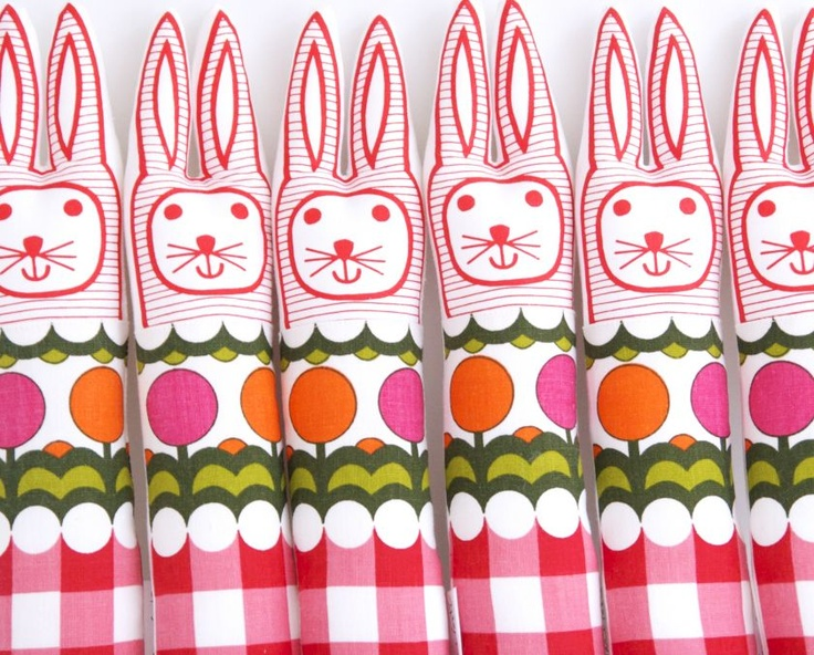 70's Lollipop Fabric Rabbits by Jane Foster