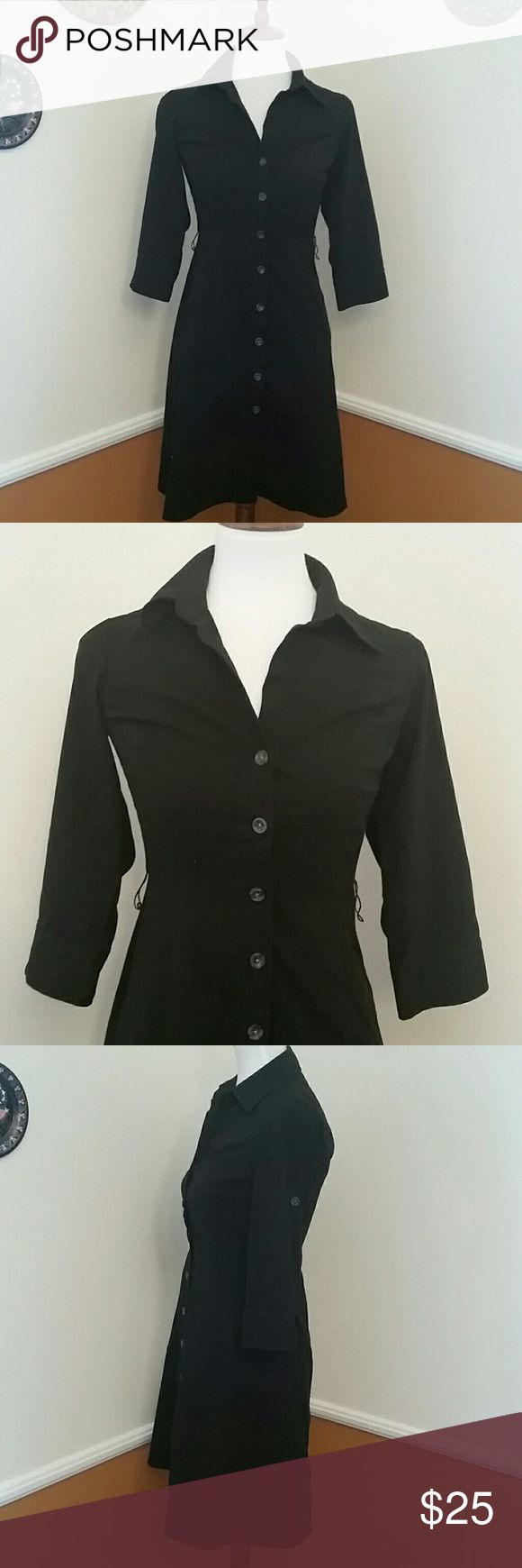 Ann Taylor size 0 black button up shirt dress Ann Taylor black button up shirt dress Pockets Collar Size 0 Buttons on sleeve allows you to roll them up Ann Taylor Dresses Midi
