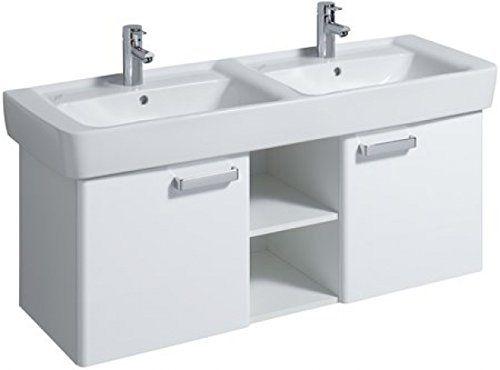 Keramag Renova Nr. 1 Plan szekrény dupla mosdó alá magasfényű fehér (120x46,3x44,5 cm, 879230000) - SzaniterPláza