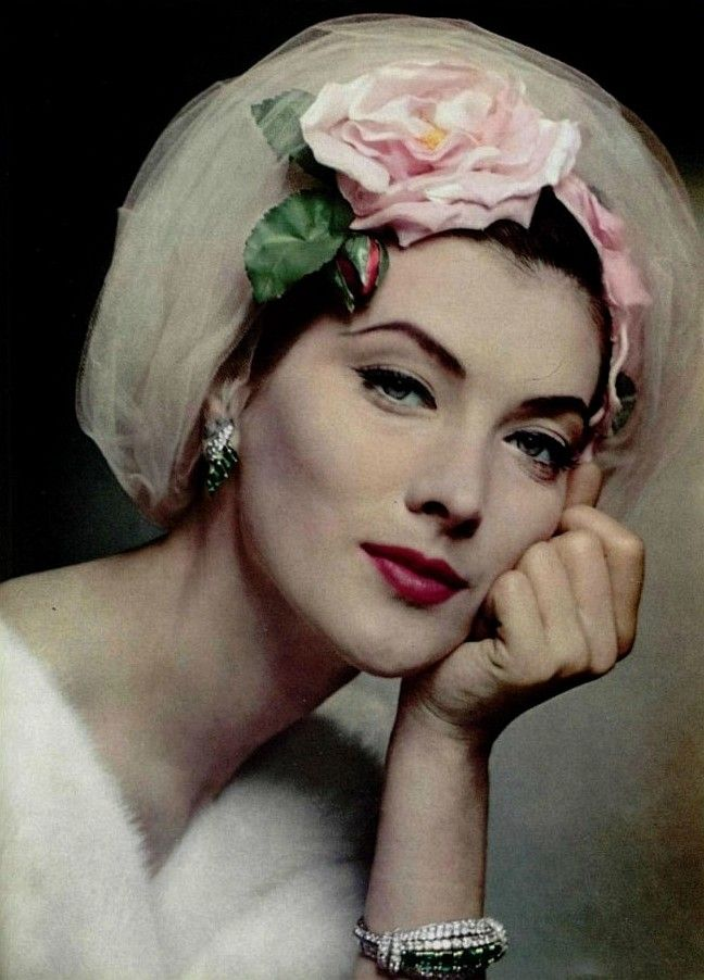 1957 Rose MarieTurban by Jean Barthet Jewels by Cartier 1950's fashion
